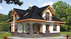 Ariadna I - Dobre Domy Flak & Abramowicz Dream Home Design, Home Design Plans, Modern House Design, Modern Bungalow House, Duplex House, Small Modern House Plans, House Design Pictures, Three Bedroom House Plan, Architectural House Plans