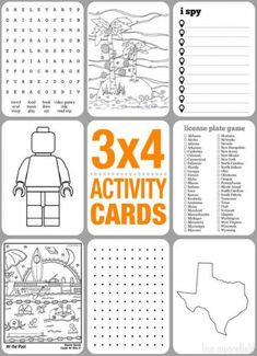 activity cards for kids- Oh I love this! I can see putting these on index cards and then laminating the whole thing and giving the kids a kit of these cards and dry erase markers for a road trip. Too fun! is creative inspiration for us. Road Trip Activities, Road Trip Games, Activities For Kids, Airplane Activities, Car Games For Kids, Road Trip With Kids, Travel With Kids, Kids Travel Kits, Family Road Trips