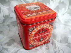 """Sold Vtg D. Lazzaroni  C. Saronno Milano Biscotti Mini Tin Box Made in Italy 4"""" Tall"""