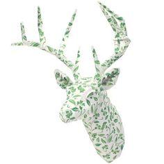 ウォールオブジェ:アニマル 01 ボタニカル(グリーン),ホーム&リビング,ペーパークラフト,インテリア,雑貨,緑,シカ,オブジェ,ウォールスカルプチャー,ボタニカル,壁飾り