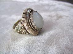 Vtg Antique Huge Ring Fine Silver Gold White Jade 7 1/4 Gypsy Magic