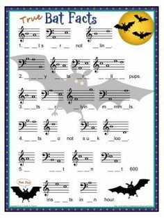 Holiday Activities and Worksheets – Susan Paradis' Piano Teacher Resources Piano Lessons, Music Lessons, Halloween Music, Halloween Poems, Halloween Week, Halloween Bats, Middle School Music, Music Lesson Plans, Music Worksheets