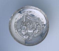 Tazza (drinkschaal) met voorstelling van Circe en de gezellen van Odysseus, Adam van Vianen (I), 1610