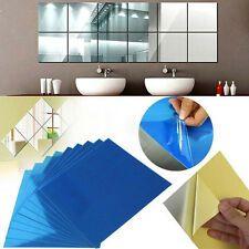 16X Mirror Tile Square Wall Sticker Self Adhesive Room Decor Stick On Modern Art