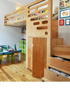 This is the ultimate built-in kids' bed. It's got smart storage in the steps and doors that likely lead to a cool fort or clubhouse. Bipede designed the unit, while a local cabinetmaker built it out of fir plywood.