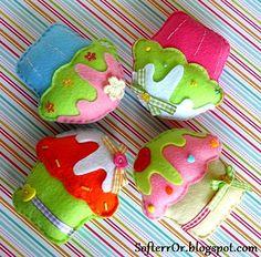 Felt Cupcakes by SofterrOrFlora, via Flickr
