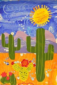 Cactus Texture Painting Students paint on separate pieces of paper and add texture with Q-tips, forks, crumpled paper, toothpicks, etc. Elementary Art Lesson Plans, 3rd Grade Art Lesson, Cactus Farm, Desert Pictures, Art Classroom Management, Crumpled Paper, Jr Art, Holly Springs, Art Curriculum