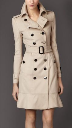 Burberry - Wool trench coat with frilled hem