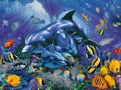 Dolphin Paradise Cross Stitch Pattern***L@@K***~~ I SEND WORLD-WIDE ~~Free by LONE WOLF CROSS-STITCH PATTERNS LOOK, $4.95 USD
