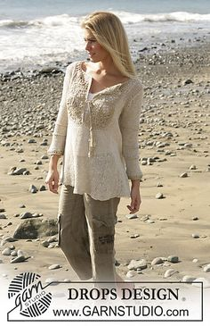 "Ravelry: 100-1 tunic with crochet diamond pattern and ¾ sleeves in ""Bomull-Lin"" and ""Cotton Viscose"" pattern by DROPS design free pattern"