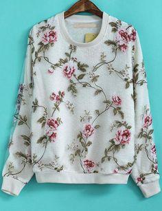 White Long Sleeve Floral Contrast Organza Sweatshirt - Sheinside.com