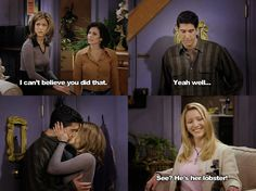 He's her lobster!! One of the most beautiful moments in TV history. How can you not LOVE RACHEL GREENE.