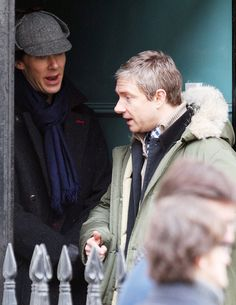Benedict and Martin are back for Sherlock filming. Ah bickering, nothing's changed!