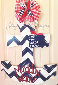 Baby boy hospital door hanger, nursery, anchor