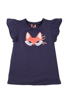 agatha applique tee MYSTIC BLUE/FOX MASK