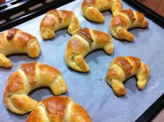 Croissants from yeast dough. See here step by step recipe: http://cookingrush.com/croissants/