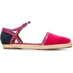 Lanvin Espadrillas With Strap (€390) ❤ liked on Polyvore featuring shoes, fuxia, t-strap flats, strap shoes, espadrille flats, studded flats and strap flat shoes