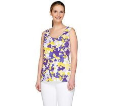 Designer dressing. Featuring an abstract print, a round neckline, and side slits at the hem, this tank top makes your ensemble into a piece of art. Page 1 QVC.com