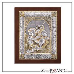 Exact copy of byzantine silver icon depicting Saint Dimitrios. Handmade Silver, Saints, Plating, Greek, Icons, Traditional, Gold, Symbols, Ikon