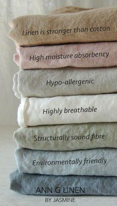 Benefits of linen. #linenfacts #linenbenefits #linentruth #annglinen