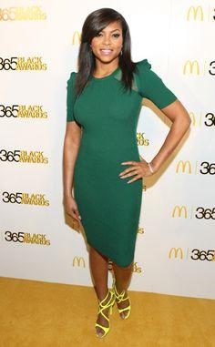 Lean Green from Taraji P. Henson's Best Looks  In a Stella & Jamie dress and Jimmy Choo sandals.