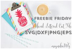 Check out our first freebie friday for a fun printable and cut file set that is perfect for your summer decor!  Pineapples are EVERYWHERE right now! You can use this cut file on a tank top or beach cover up, water bottle for the beach, or a fun summery tea towel for your kitchen!