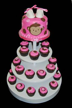 pink and brown monkey baby shower cupcake tower by Simply Sweets, via Flickr