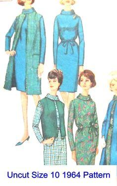 Vintage 1964 Pattern Simplicity 5728 Misses' Dress Coat Vest Jacket Size 10 Uncut