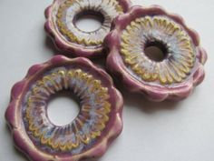 Scalloped Edge fancy Donut in Orchid by classicbead on Etsy, $12.95