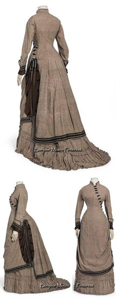 Afternoon dress in 2 pieces, French, ca. 1880–85. Silk plain weave with a crepe yoke.