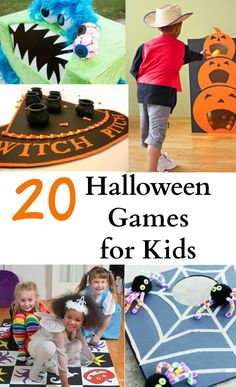 These Halloween games for kids are fun and easy to do. Most of them are DIY Halloween games that are great for parties or family nights. Click to see all the cute ideas! #halloween #halloweengames #kids #diy