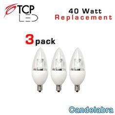 TCP LED Candelabra 3 Pack - E12 Base - 5 Watts - 40 Watt Equal