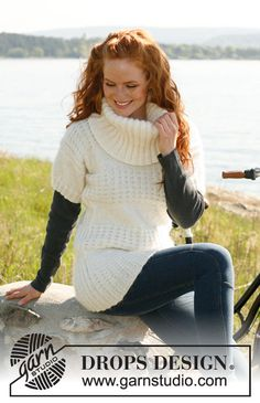"""Snowball - Knitted DROPS sweater with large collar and textured pattern in """"Merino Extra Fine"""" and """"Kid-Silk"""". Size: S - XXXL. - Free pattern by DROPS Design"""