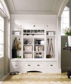 Decorá Cabinetry: Prescott Beaded Inset Maple White - traditional - entry - MasterBrand Cabinets, Inc. Inset Cabinets, Built In Cabinets, Storage Cabinets, Ranch House Remodel, Mudroom Laundry Room, Small Space Organization, Entry Organization, Organizing Ideas, Layout