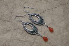 Woven Wire Oval Earrings Wire Weaving Gemstone by ForestBeads, $34.99