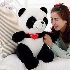 LUCKSTARTM 53cm Black White With Red Fortune Panda Bear Stuffed Animal Plush Toy Black White Plush Cute Big Head Panda Large Pillow Cushion Design Kids Toy Gift affordable delight for any bear lover >>> More info could be found at the image url.