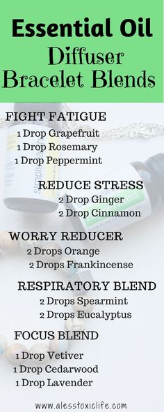 Essential Oil Diffuser Bracelet Blends. Try these on your diffuser bracelet, necklace or even in your diffuser. Essential Oils For Fatigue. Essential oils for Stress, Essential Oils For Congestion. #essentialoils #diffuserblends #healthyoils