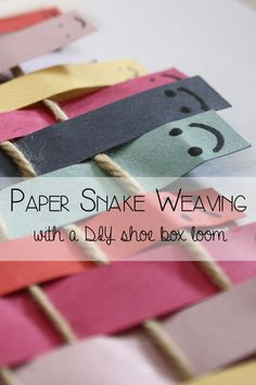 Easy to make Shoe Box Loom and paper snake weaving for preschoolers and kindgarten children to help develop fine motor skills with a fun craft project.