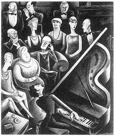 "Miguel Covarrubias ""A Salon Recital of Modern Music: One of Those Awesomely Elegant Evenings Which Society Has to Suffer—Seen by Covarrubias,"" Vanity Fair, February 1929, 54."