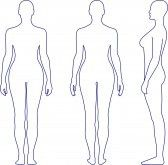 Full Length Front Back Side View Of A Standing Naked Woman Body OutlineCoy