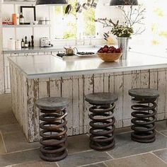recycled truck spring bar stools!