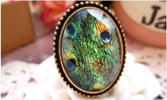 Korean Vintage Peacock Feather Ring on BuyTrends.com, only price $4.00