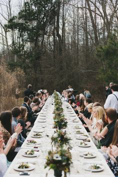 Vintage-y feast in the forest! Photography by brettjessica.com  Read more - http://www.stylemepretty.com/2013/08/09/north-carolina-farm-wedding-from-brett-jessica-and-orangerie-events/