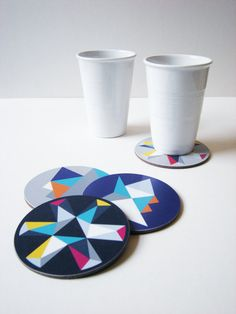 Set of four mixed geometric coasters. From FunMakesGood, via Etsy.