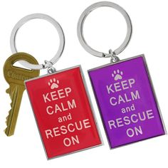 Keep Calm & Rescue On Keychain - Purple - Free ASPCA Window Sticker #AnimalRescue