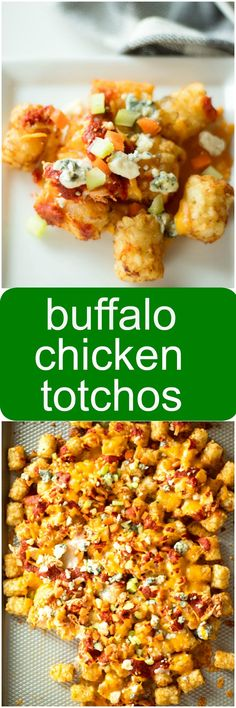 get ready for game day with buffalo chicken totchos Best Appetizers, Appetizer Recipes, Potato Recipes, Chicken Recipes, Buffalo Recipe, Sports Food, Game Day Food, Buffalo Chicken, Cooking Recipes