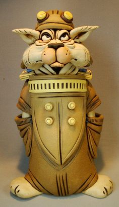 Cat Aviator Stoneware sculpture by Rex Benson by RexBenson