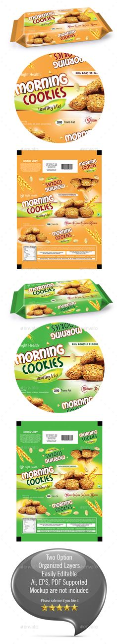 Cookies Packaging Templates - Packaging #Print #Templates Download here: https://graphicriver.net/item/cookies-packaging-templates/19756795?ref=alena994