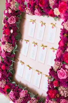 Pink Table Plan with real flower boarder  | Botanical | Wedding Inspiration | Wedding Idea