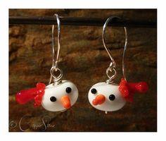 Handmade lampwork glass earrings from Copperstone Jewellery #handmade jewellery #lampwork beads #Christmas.